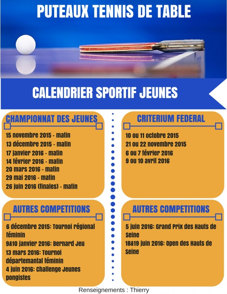 2015-2016 - Calendrier Jeunes